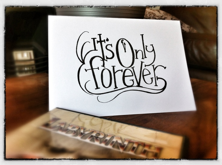 The Labyrinth Film - It's Only Forever - Greetings Card. £2.50, via Etsy.