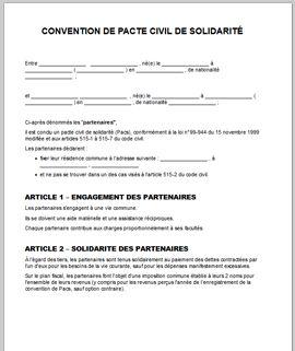 Convention de PACS Modèle - Télécharger une convention de PACS - LegalPlace