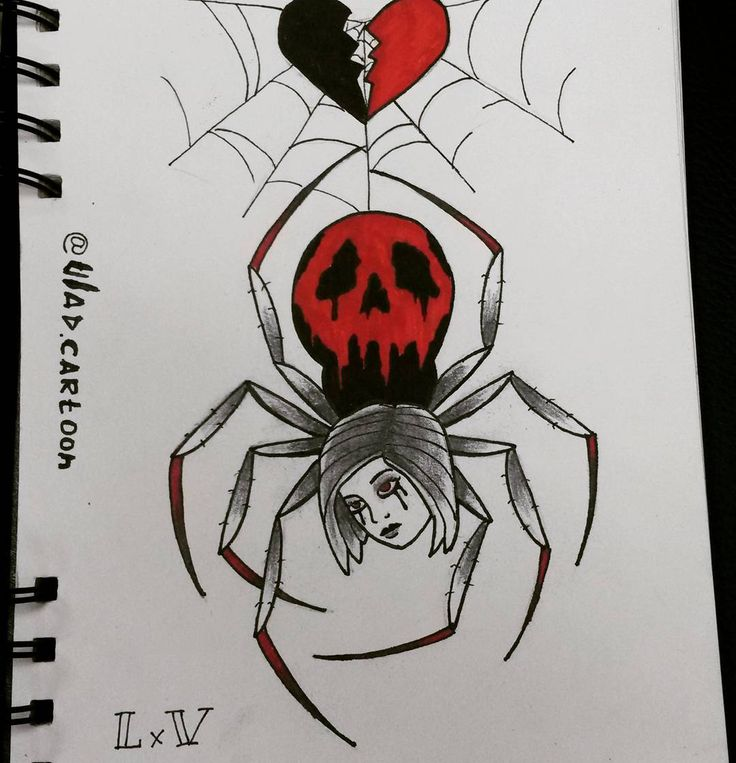 #LxV #tattoo #sketch #spider #love #skull #girl #паук #эскиз #oldschool #traditional #олдскул #грусть #паутина #hometattoo #blacktattoo