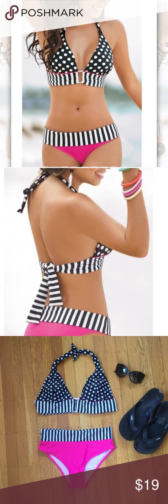 """Black, White and Hot Pink Swim Suit Black, White and Hot Pink Swim Suit.  So pretty.  Flat lay measurements. Between outer edge bra cup at bottom 14 3/4"""". Suit bottom hits approximately 21/2"""" below waist and is 14"""".  Hips 15"""".  A little stretch in fabric.  Actual suit for sale is shown in pic 3 & 4.  Model shows similar version suit in pic 1 & 2.  Label say size M but more like size XS.  Please check  measurements to get good fit.  Bra cup has padding.  So pretty. Swim Bikinis"""