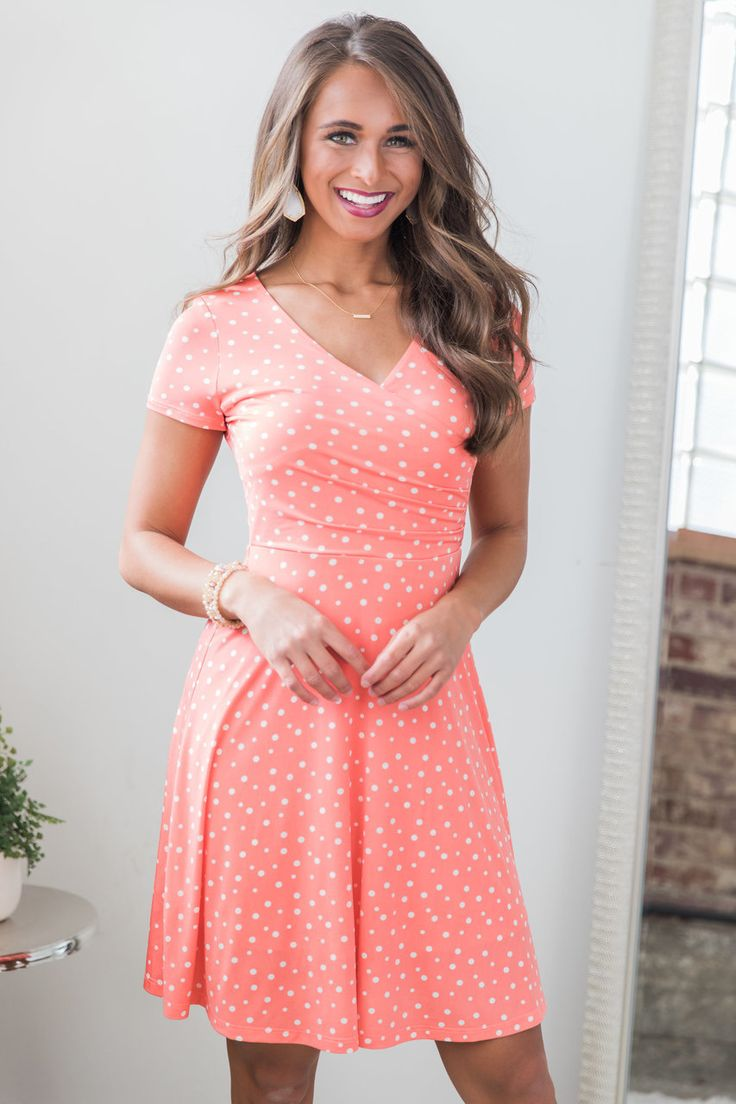 The Pink Lily - Stroll Under The Stars Dress Coral, $42.00 (https://pinklily.com/stroll-under-the-stars-dress-coral/)