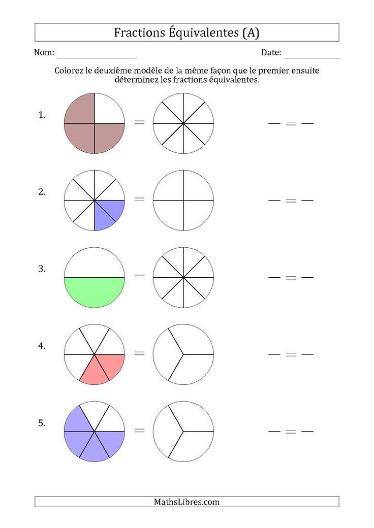 La fiche d'exercices de maths « Fractions Équivalentes à l'Aide des Modèles (A) » de la page des Fiches d'Exercices sur les Fractions.
