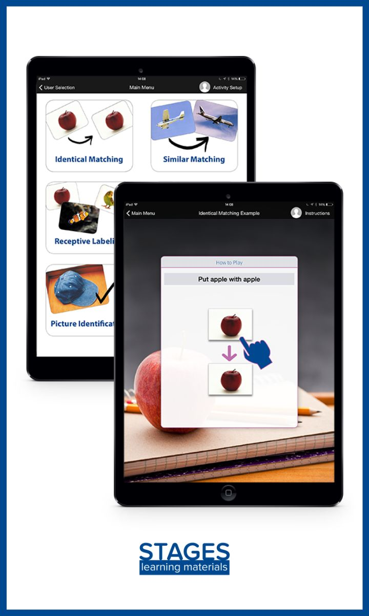 Based on the top-selling autism curriculum tool, Language Builder® Picture Cards. The FREE app includes 90 Basic Stage images, to use in the Identical Matching & Similar Matching activities. #autism