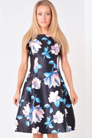 Deanna Floral Dress in Black