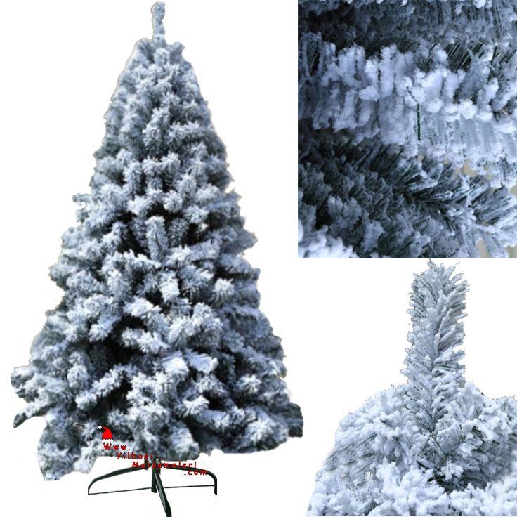 Beyaz Kar Efektli Ladin Cinsi 210 cm Yılbaşı Çam Ağacı