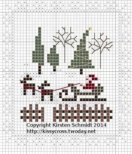 Cross Stitch Santa Sleigh and Reindeer