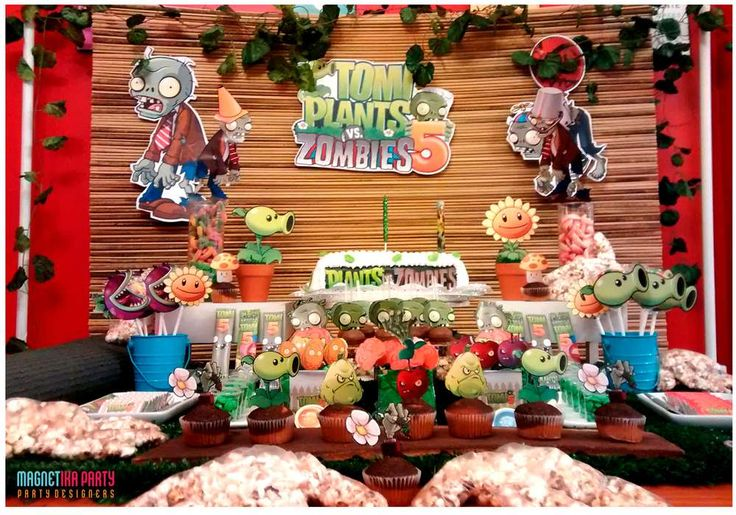 Dessert table at a Plant vs. Zombies birthday party! See more party ideas at CatchMyParty.com!
