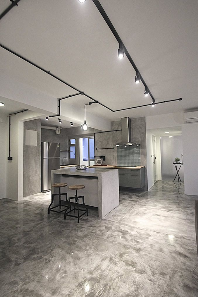 Cement Screed Was Polished, Giving It The Same Treatment That Marble Floors  Would Receive.