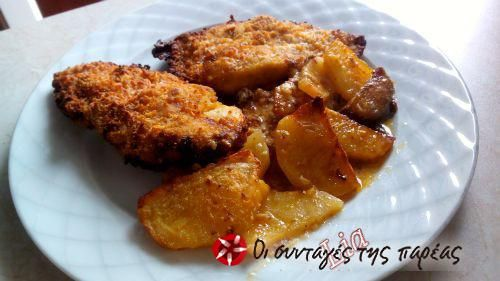 Σνίτσελ κοτόπουλο στο φούρνο #sintagespareas #snitselkotopoulo #fournou