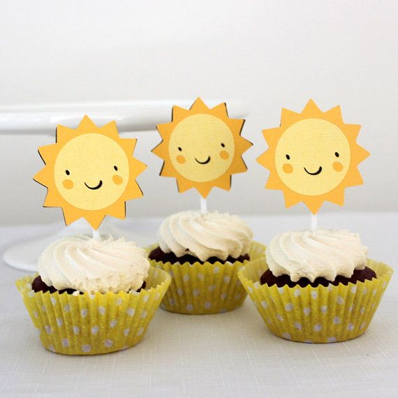 12 x Sun Cupcake toppers  Little Sunshine: by MyPinwheelParty