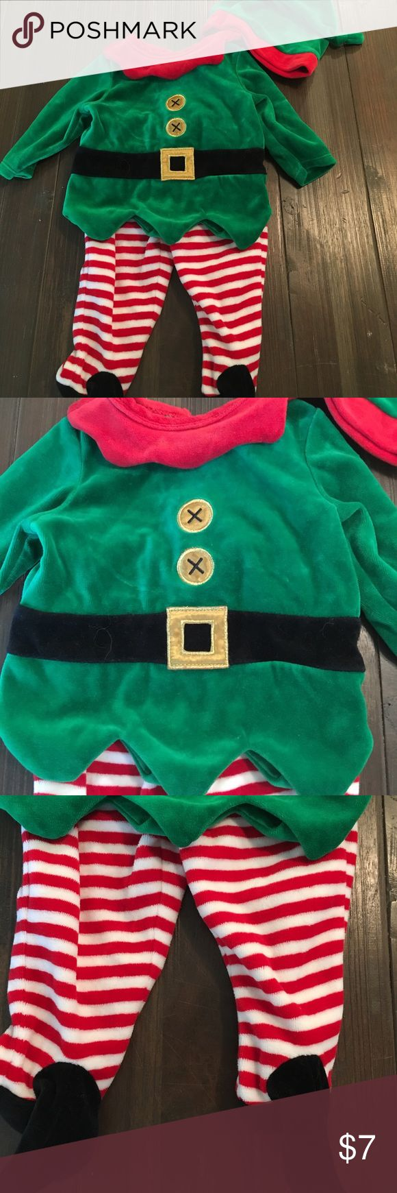 Baby elf costume Christmas Baby elf costume with striped footed pants, green top with Faux buttons and belt and hat! Adorable! Bundle and save! Koala Kids Matching Sets