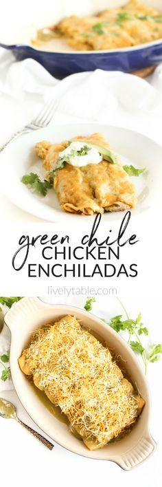 These are THE BEST homemade enchiladas! Green Chile Chicken Enchiladas with homemade green enchilada sauce are a delicious and comforting Tex-Mex meal perfect for cooler weather. Homemade enchiladas are much healthier than restaurant versions and the tast