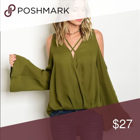 Hello Baby Olive top S Seasons favorite olive Top in a small... Geo strappy details.  Fits true to size... juniors fit through bust line Tops Blouses