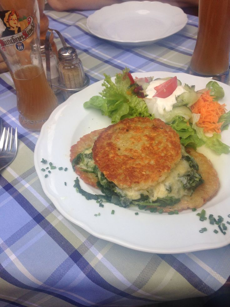 Yum. German potato pancakes with spinach and cheese, thank you very much.