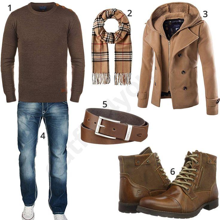 Männeroutfit mit braunem Blend Pullover, Bugatti Stiefeln, camel active Ledergürtel, Fraas Schal, A. Salvarini Jeans und beigem Cloudstyle Mantel.