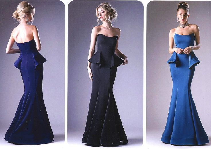 Prom Dresses Evening Dresses UNDER $200 by CINDERELLA<BR>addA9003<BR>Strapless mermaid gown with fitted bodice, side peplum, trumpet hemline.