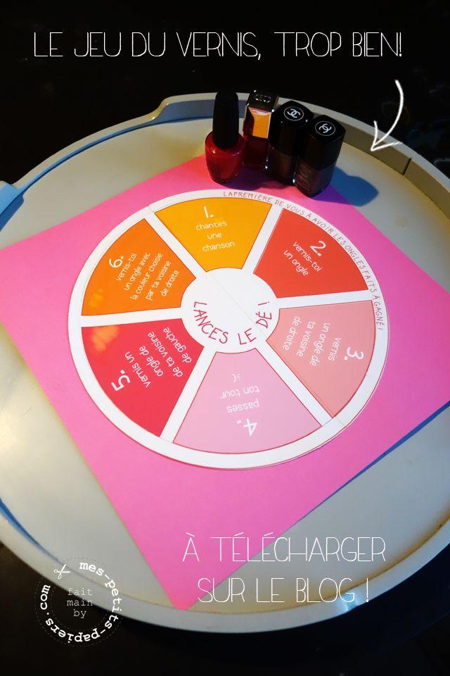 Le jeu du vernis pour la pyjama party! Piste de dés à télécharger sur http://www.mes-petits-papiers.com/rdv-pyj-party-ii/