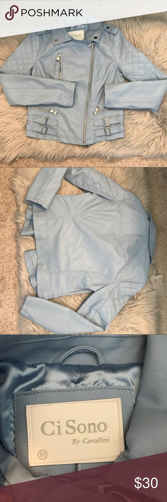 Baby blue leather jacket size medium Ci Sono NWT . Size medium, baby blue  leather jacket (not real leather) Jackets & Coats Utility Jackets