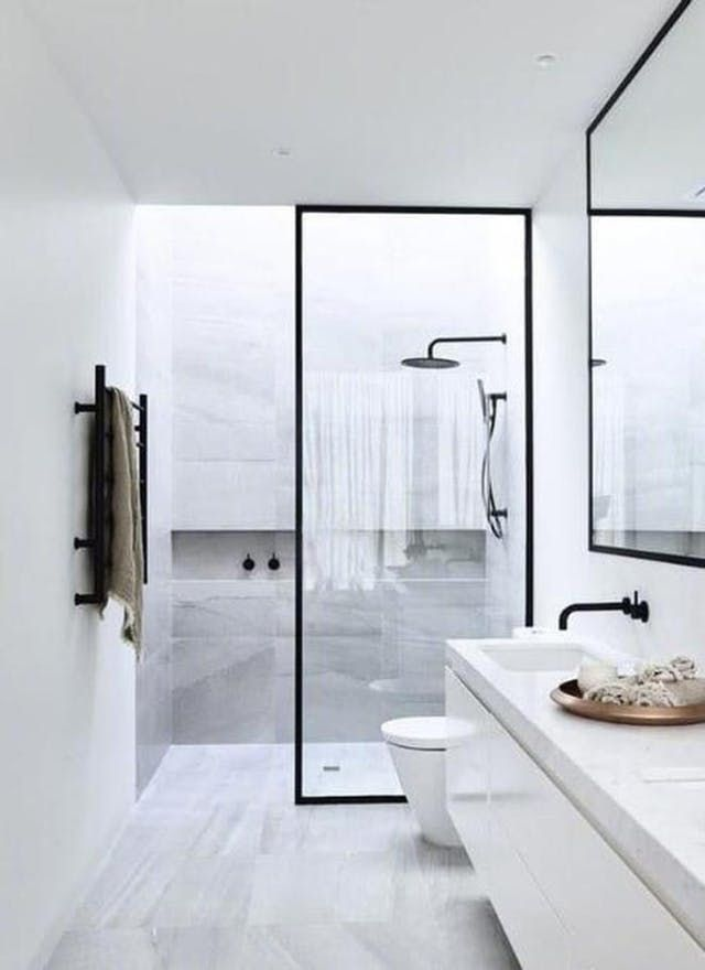 Trending On Pinterest Monochrome Kitchens Bathrooms The Interiors Addict Modern Bathroom Design Bathroom Remodel Master Bathroom Design Small