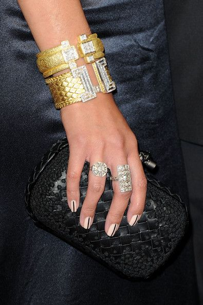 Mariqueen Maandig Cuff Bracelet  Mariqueen Maandig infused her look with glamour with a pair of gold and diamond cuffs.