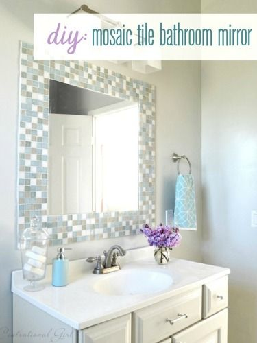 Bathroom Mirror Makeover Pinterest best 25+ tile around mirror ideas only on pinterest | mirror
