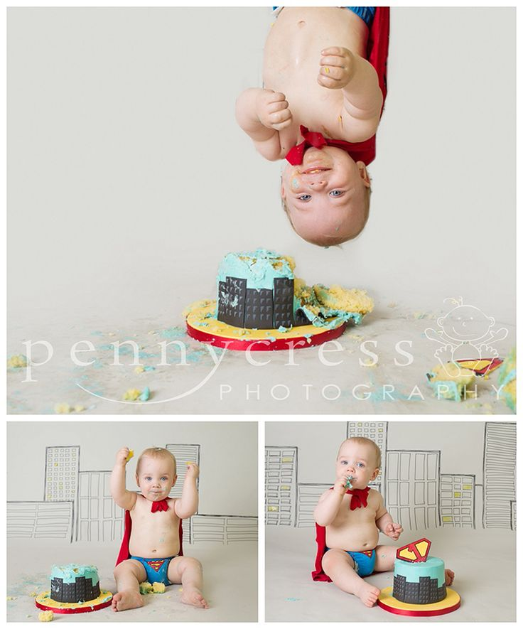 Super hero / superman cake smash for 1st Birthday by Pennycress Photography