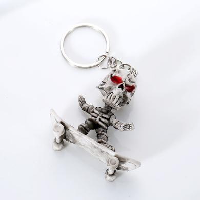 Chaveiro de Borracha Skate  Crânio de Esqueleto  Punk