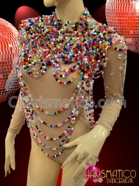 Charismatico Dancewear Store - CHARISMATICO Large Collar styled high neck draped Diva's rainbow beaded necklace, $130.00 (http://www.charismatico-dancewear.com/charismatico-large-collar-styled-high-neck-draped-divas-rainbow-beaded-necklace/)