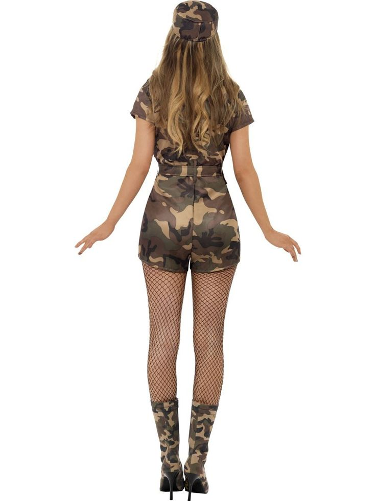 Ladies Adult Sexy Army Girl Costume Camo Soldier Fancy Dress Womens Outfit
