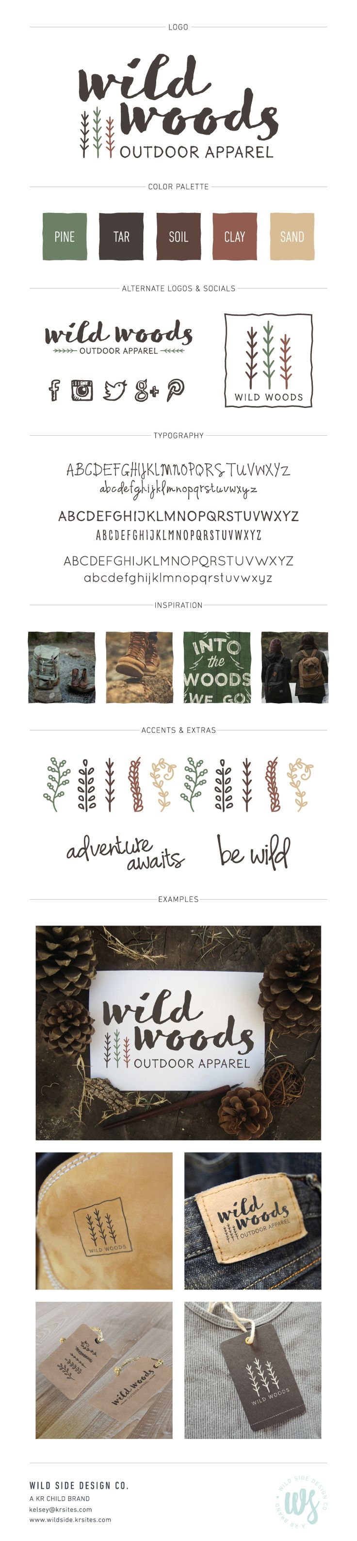 Brand Launch | Brand Style Board | Outdoor Apparel Branding | Wild Woods Brand Design by Wild Side Design Co. | #brand #print www.wildside.krsites.com