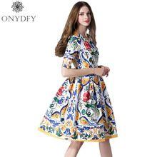2017 Взлетно-Посадочной Полосы женская Мода Лето Dress Женщины С Коротким Рукавом Винтаж Цветочные Печати линия Бальные Платья Vestidos Robe Femme(China (Mainland))
