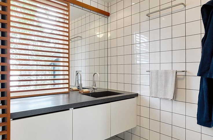 Mid-Century Modern house in Sweden, bathroom... Such a good idea for a window treatment.