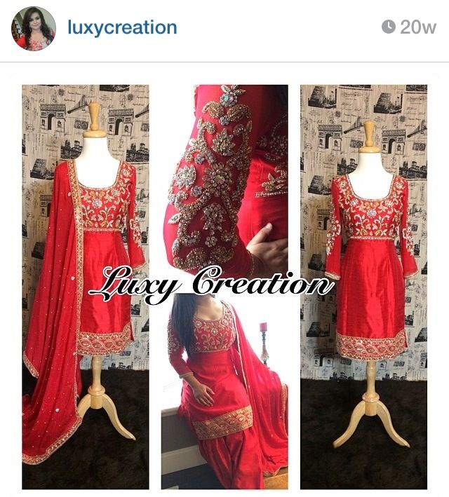 Red n gold punjabi suit  Luxy creation