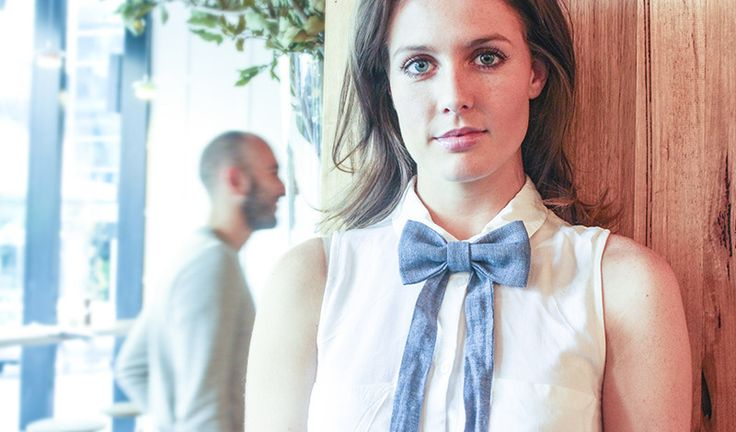 Emily Macfarlane wears Blue Denim Sailor Tie www.bties.com.au