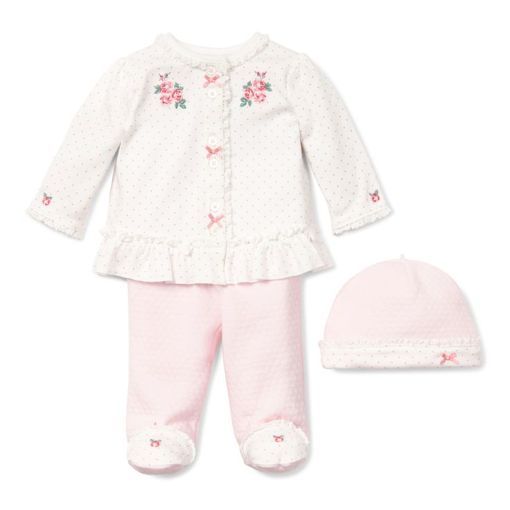 Baby Girl 3 Piece Outfit - Chateau Rose 3 Piece Take Me Home Outfit