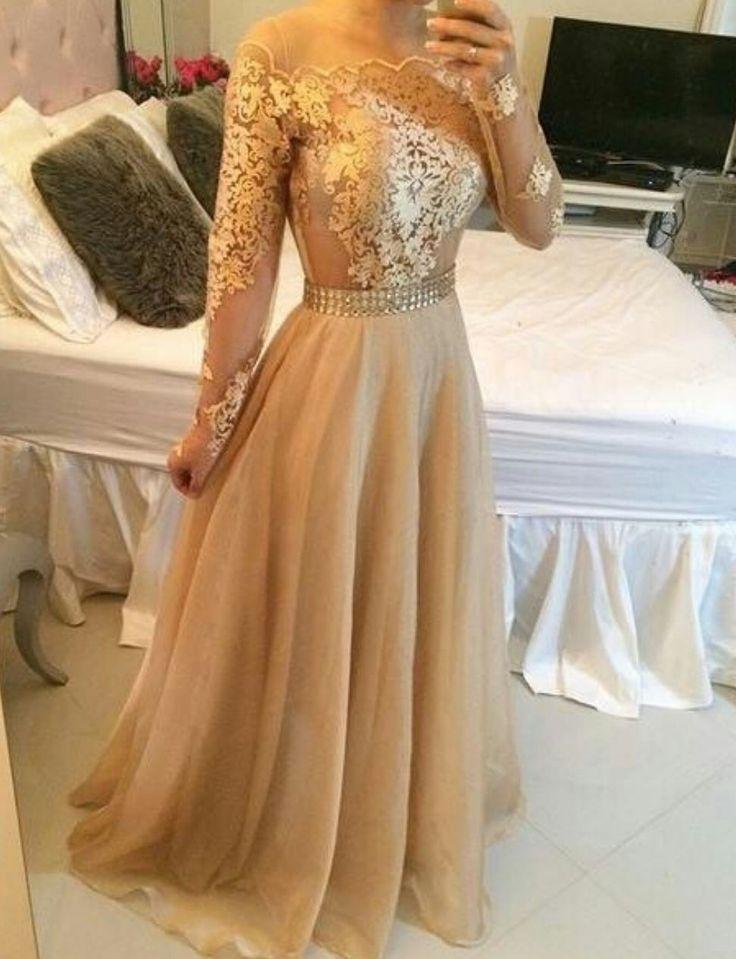 139 Off Shoulder Long Sleeves Sheer Prom Dresses A Line Crystals