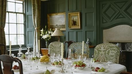 Lovely Arts & Crafts National Trust house and garden to visit in Sussex. (The elegant dining room set for dessert at Standen)