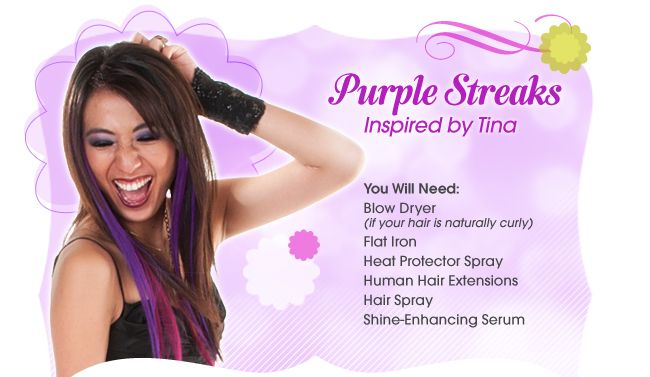 Get purple streaks inspired by Tina from Glee!