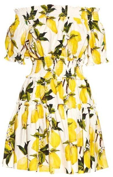 DOLCE & GABBANA Off-the-shoulder lemon-print dress