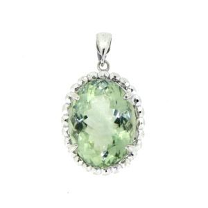 Handcrafted 18 carat white gold pendant featuring an oval cut Prasiolite. #Gemstones #Green #Handmade #Jewellery #jewelry #Australia
