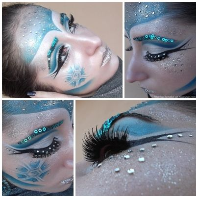"Beautiful makeup for the ice portion of a ""Fire & Ice"" theme! We have shimmer cream/powder makeup, glitter and eyelashes!"