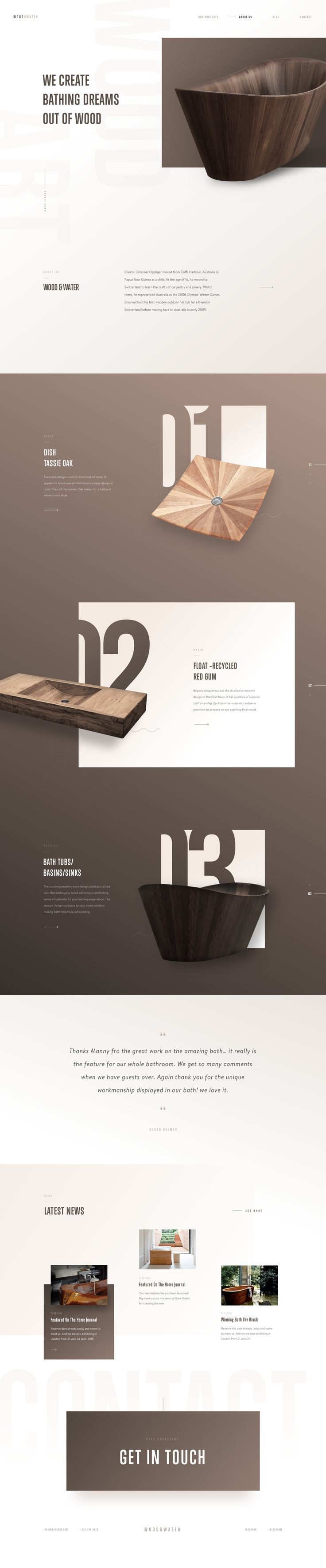 Wood&Water - #Ui design concept for a homepage #website dedicated to sinks and bathtubs, by Martin Strba.