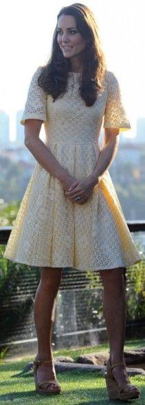 Yellow eyelet dress kate middleton