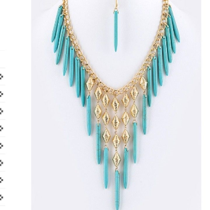 Turquoise Stone Spear Necklace Set from Morties Boutique for $11.95 on Square Market