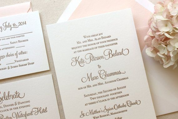 The Hydrangea Suite - Classic Letterpress Wedding Invitation Suite Gold with Blush Liner, Pink, Blush, Gold, Formal, Simple, Traditional