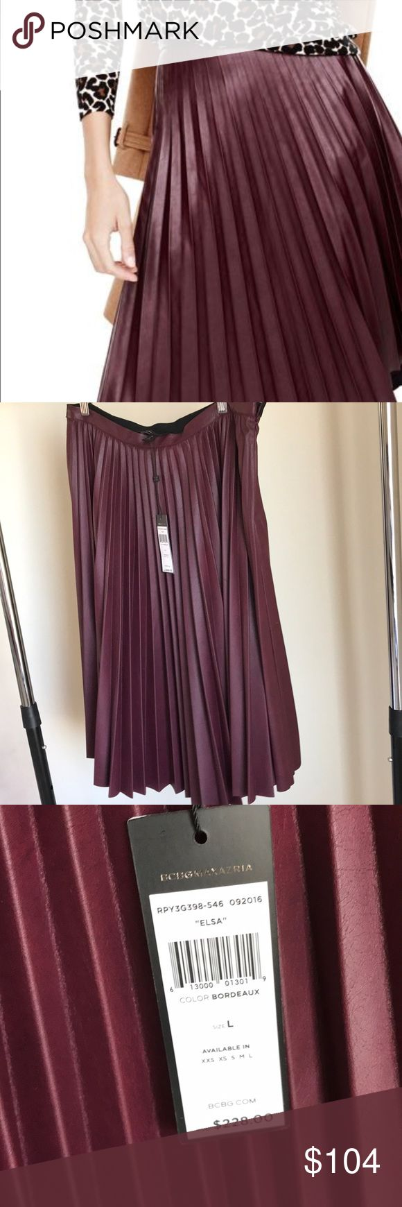 bcbgmaxazria elsa faux leather pleated skirts New with tags. Color - Bordeaux. BCBGMaxAzria Skirts Midi