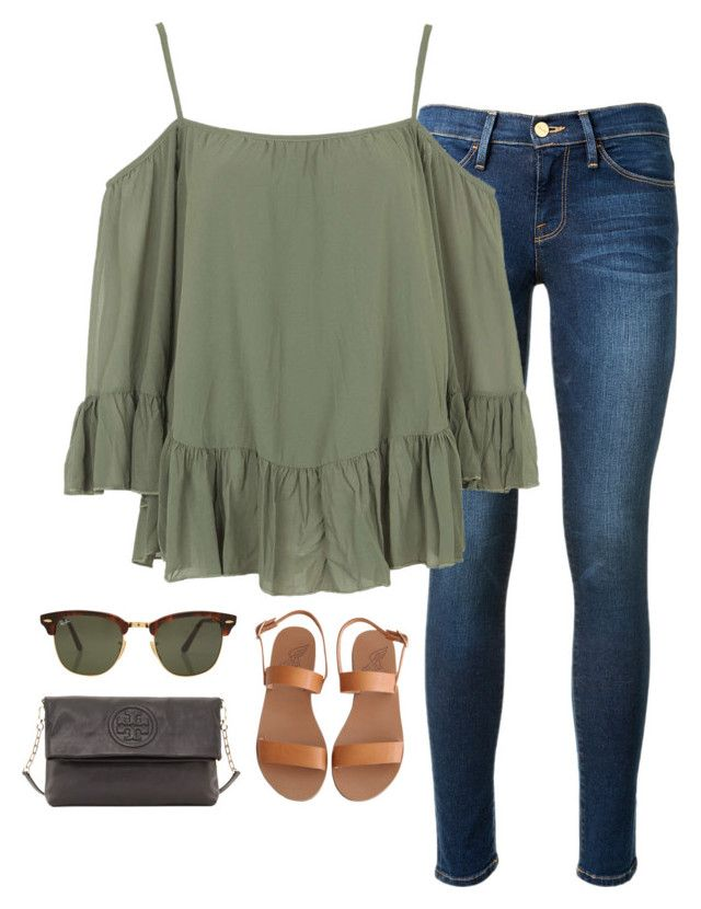 """ootd"" by helenhudson1 ❤ liked on Polyvore featuring Frame Denim, Ancient Greek Sandals, WalG, Rayban and Tory Burch"