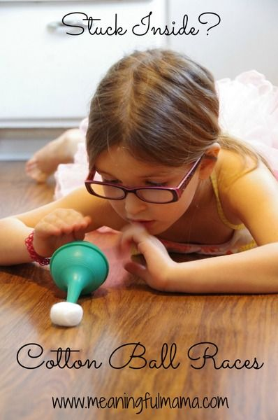 Cotton Ball Races - Fun Indoor Activity with no clean up! Meaningful Mama