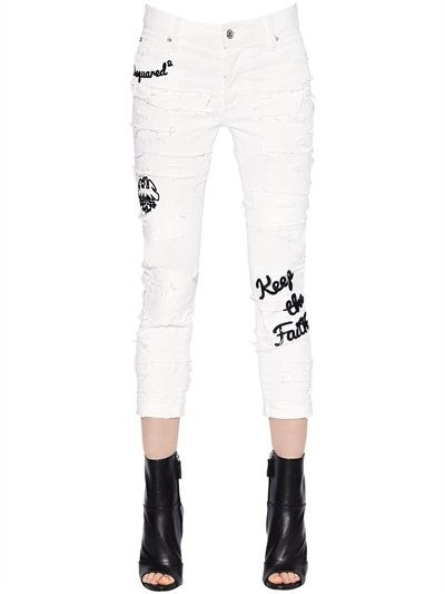 DSQUARED2 - GLAM HEAD DESTROYED STRETCH DENIM JEANS - JEANS - WHITE - LUISAVIAROMA