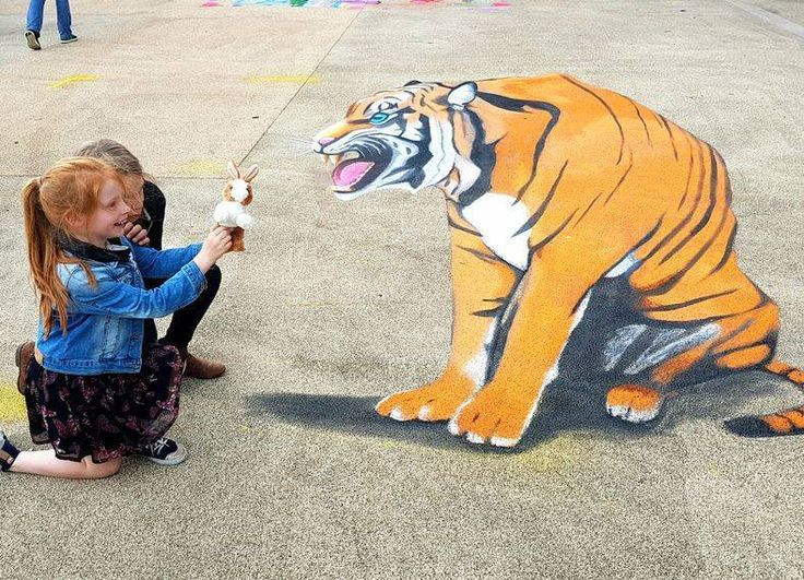 Anamorphic Tiger Chalk Art created for the Coloured Earth Chalk Festival.